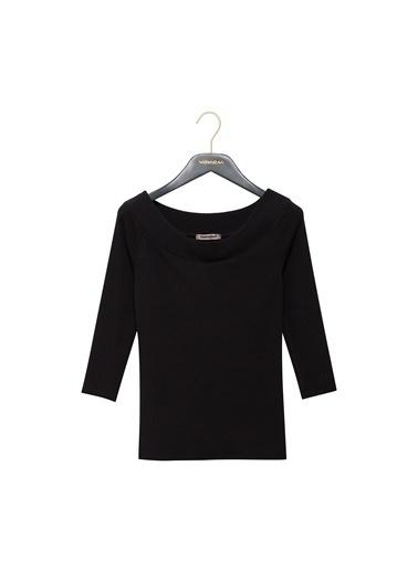 Vekem-Limited Edition Kayık Yaka Truvakar Kol Bluz Siyah